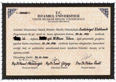 İstanbul Üniversitesi - Endüstriyel Elektronik - 1996