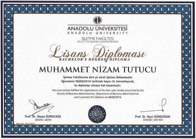 Anadolu Üniversitesi - İşletme Fakültesi - 2016